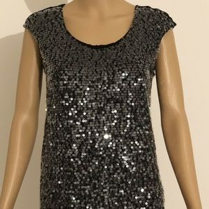 Elle Evening Blouse Top Black With Sequins Small